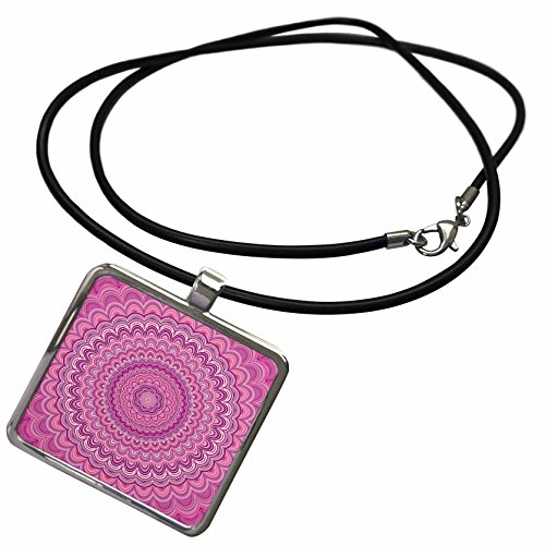 3dRose David Zydd - Floral Mandalas - Pink Flower Mandala - abstract circular design - Necklace With Rectangle Pendant (ncl_284100_1) (Pendant Floral Circular)