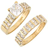 Best Jewelry Liquidation Wedding Ring Sets - 10k Yellow Gold White CZ Stunning Ladies Duo Review