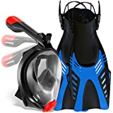 COZIA Design Snorkel Set with Foldable Snorkel MASK - Swim FINS Included - Premium Set Ocean View 180 Full Face Snorkel Mask with Go Pro Mount - Snorkel Mask Foldable Tube and Flippers