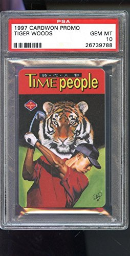 Tiger Woods Autographed Card - 1997 Cardwon Promo Taiwan Tiger Woods Golf Time People ROOKIE Card 10 Graded - PSA/DNA Certified - Autographed Golf Cards