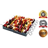 Stainless Steel - Heavy Duty, Shish Kabob 6-Piece Skewer - Shish Kabob Rack & Grill Set for ALL Meat & Vegetables - BONUS - Over 2 Dozen Amazing Recipes -Shish Kabob E-Book - Unique Stainless Steel, Interlocking Shish Kabob Skewers by More Cuisine Essentials BG - 0127A, LIFETIME GUARANTEE