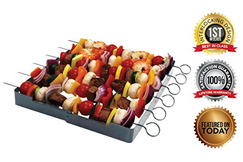 Stainless Steel-Heavy Duty, Shish Kebab 6-Piece Skewer - Shish Kabob Rack & Grill Set for ALL Meats & Vegetables-Over 2 Dozen Amazing Shish Kabob Recipes, Interlocking Shish Kabob Skewers, by MORE (Shrimp Grilling Skewers compare prices)