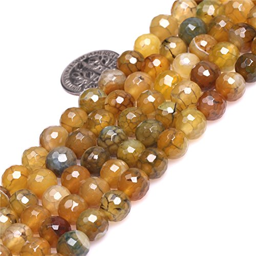 Precious Agate Stone Semi (Joe Foreman 8mm Crackle Dragon Vein Agate Beads for Jewelry Making Natural Semi Precious Gemstone Round Faceted Yellow Green Strand 15