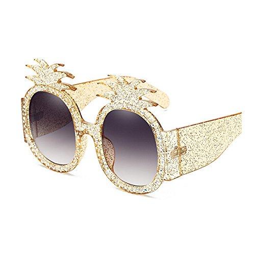 sol las sol ULTRAVIOLETA mujeres para cristal las Protección de la irregulares bordeadas las gafas señora Gafas de del sol la de con de gafas de Gold de sol gran tamaño de piña gafas la de de personalidad wRxCgq5