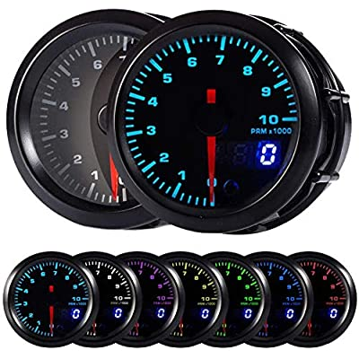 "HOTSYSTEM 7 Color Tachometer Gauge Kit 0 to 10,000 RPM for 4-6-8 Cylinder Gas Powered Engines Pointer & LED Digital Readouts 2-1/16"" 52mm Black Dial for Car Truck: Automotive"