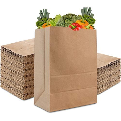 Stock Your Home 57 Lb Kraft Brown Paper Bags (100 Count) - Kraft Brown Paper Grocery Bags Bulk - Large Paper Bags for Grocery Shopping