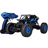 Three King 1/18th 2.4Ghz electric remote control cars buggy model cars 4x4 RC Rock Off-Road Vehicle Toy 4 WD Monster Crawler Truck - Blue