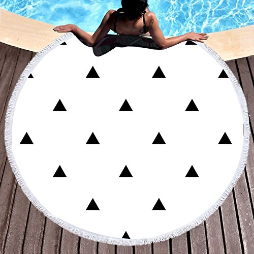 Triangles Tablecloth Pool (Sleepwish Geometric Beach Towel with Tassels Black and White Triangle Design Chic Round Tablecloth (Triangles, 60