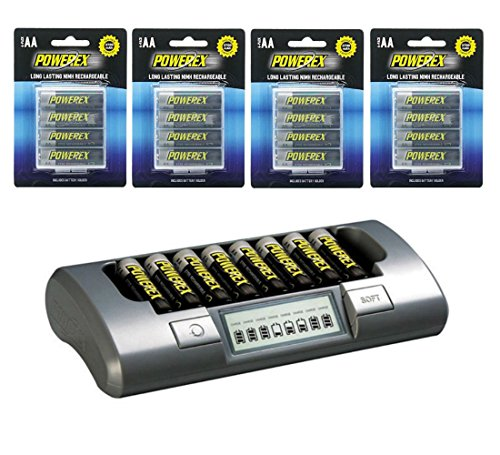 Powerex Bundle - [4 Packs] of 4 AA 2700mAh NiMH Rechargeable Batteries (with holders) & 1 MH-C800S Eight Cell Smart -
