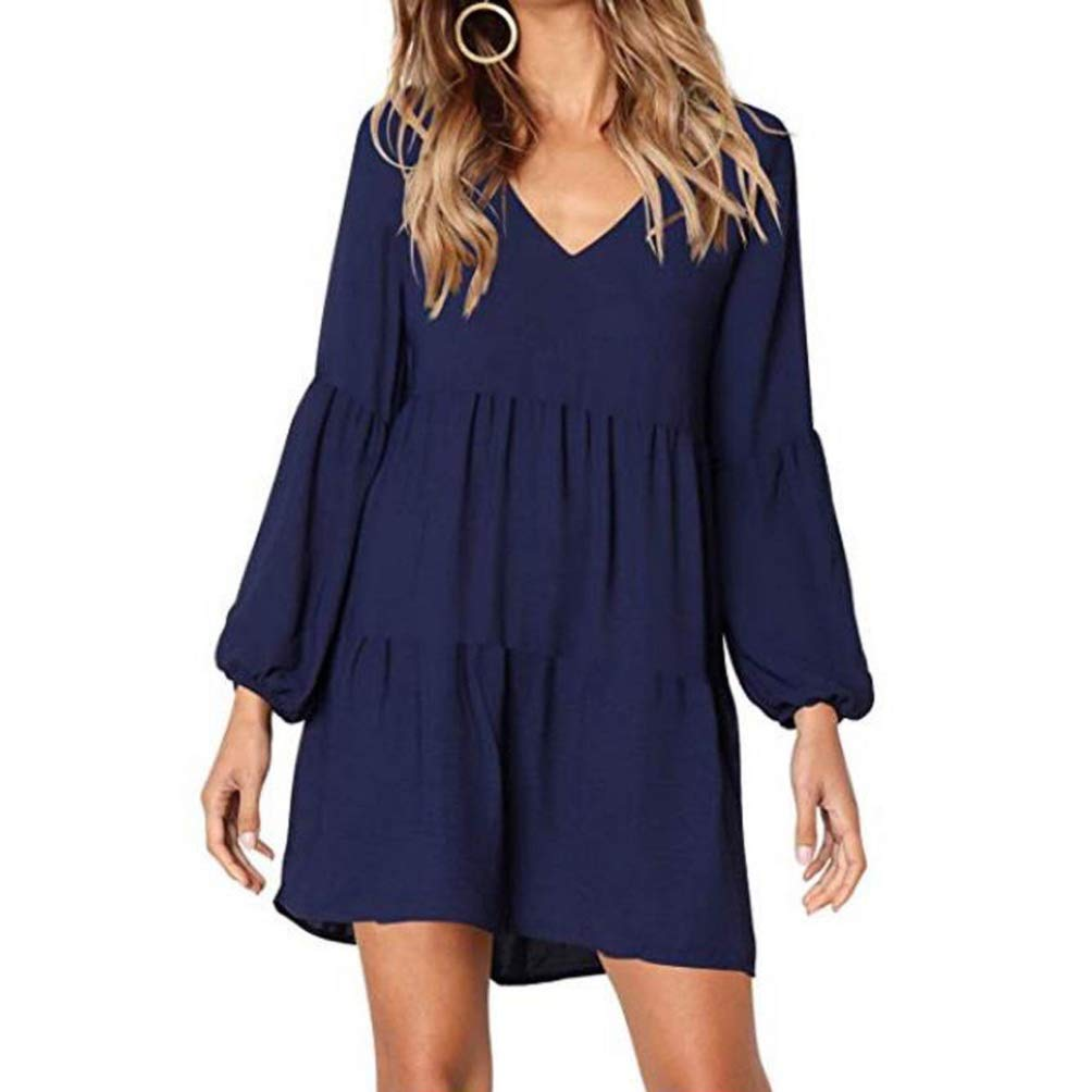 Photno Women Summer Mini Dresses Casual V-Neck Lantern Long Sleeve Dress Party Beach Sundress