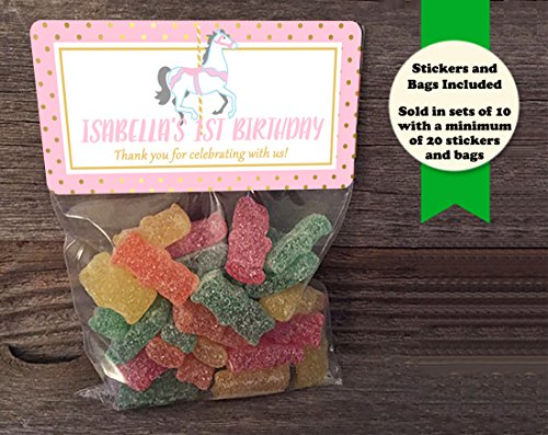 (Carousel Horse Birthday or Baby Shower Personalized Treat Bags and Stickers, Set of 20, Pink and Gold)