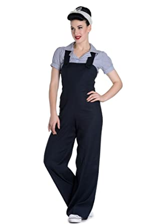 2dee862cff3f5 Hell Bunny Penny 50s Rockabilly Retro Women s Dungarees Dark Blue S ...
