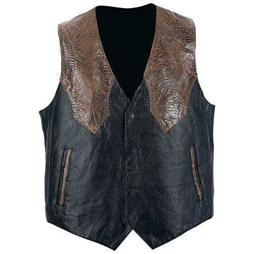 Giovanni Navarre? Hand-Sewn Pebble Grain Genuine Leather Western Style Vest Large (Black with Dark Brown trim)