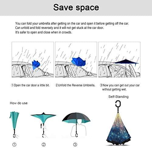スペースギャラクシー絵画 逆さ傘 逆折り式傘 車用傘 耐風 撥水 遮光遮熱 大きい 手離れC型手元 梅雨 紫外線対策 晴雨兼用 ビジネス用 車用 UVカット