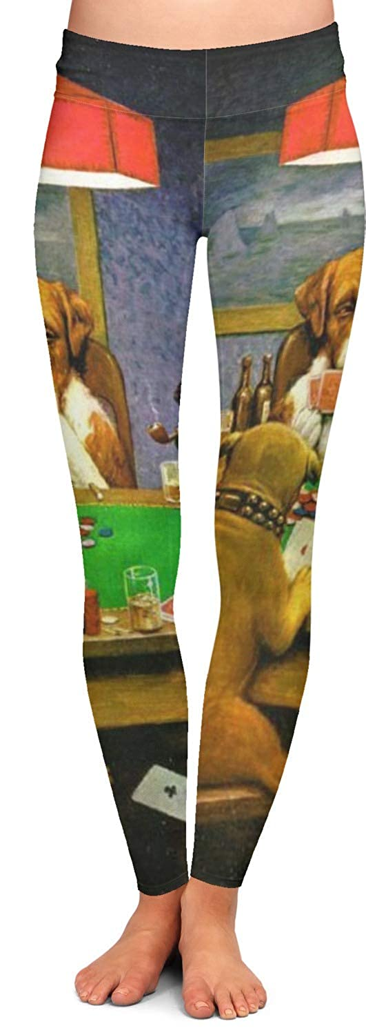 2X-Large YouCustomizeIt Dogs Playing Poker by C.M.Coolidge Ladies Leggings