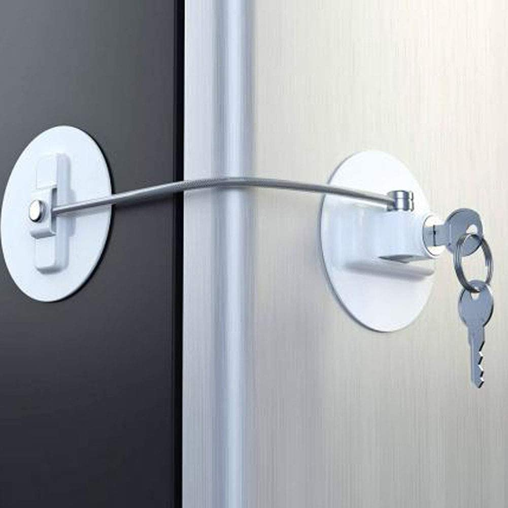 PoeHXtyy Refrigerator Fridge Door Locks with Keys Child Safety Cabinet Locks Freezer Lock with Strong Adhesives