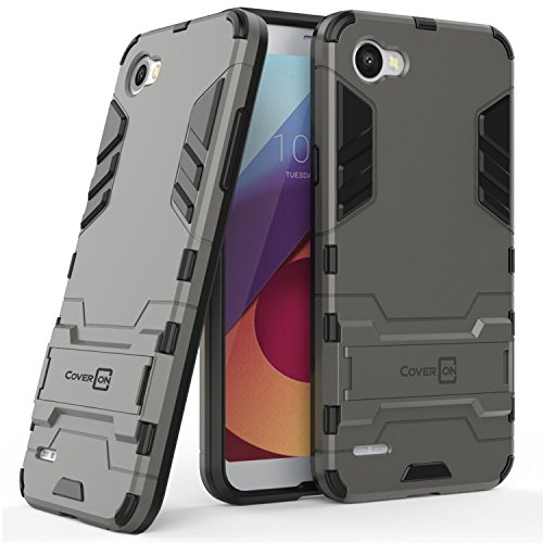 LG Q6 Case, LG Q6 Plus Case, LG Q6a Case, CoverON Shadow Armor Series Modern Style Slim Hard Hybrid Phone Cover with Kickstand Case for LG Q6 / Q6 Plus / Q6a - Gray