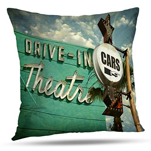 - Kutita Americana Decorative Pillow Covers, Aged and Worn Vintage Theater Cars Sign with Movie Throw Pillow Decor Bedroom Livingroom Sofa 18X18 inch