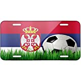 Soccer Team Flag Serbian Metal License Plate 6X12 Inch