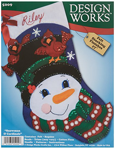 (Tobin Snowman and Cardinals Stocking Felt Applique Kit, 17-Inch)