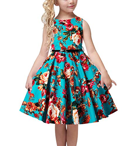 uideazone Little Girl Retro Audrey Gorgeous Birthday Dress 3D Floral Print Playwear with Adjustable Belt for Kids 12-13 Years