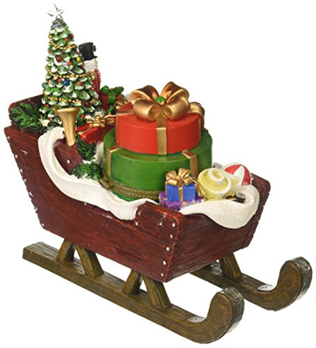 (Amusements LED Action Santa's Sleight Filled with Presents, a Tree and a Nutcracker Musical)