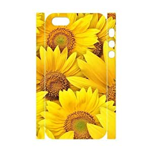 3D Bumper Plastic Customized Case Of Sunflower for iPhone 5,5S