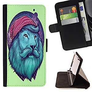 Dragon Case- Caja de la carpeta del caso en folio de cuero del tir¨®n de la cubierta protectora Shell FOR Samsung GALAXY ALPHA G850 SM-G850F G850Y G850M- Lion Funny Man