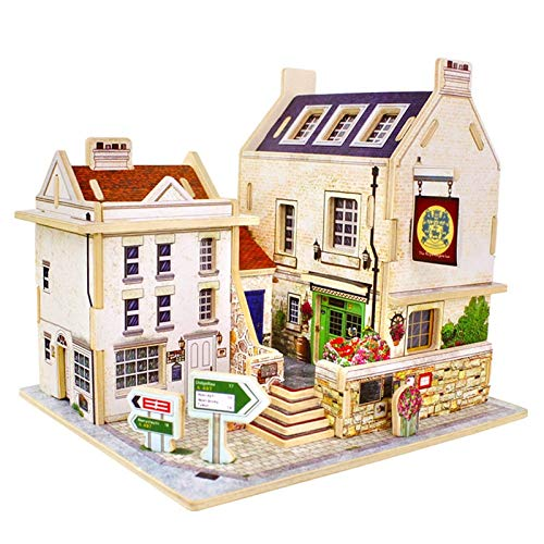 UnnieShop 3D Vintage Britain Bar Puzzle Game Wooden Model Building Popular Educational ren Toys Hobbies from UnnieShop