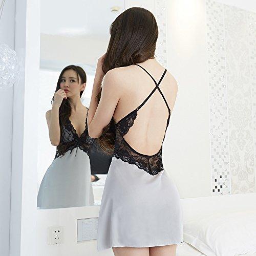 Pijama Mujer, Verano, Camisón, Encaje, Seda, Raso, Ligueros, Ropa Interior Silver gray