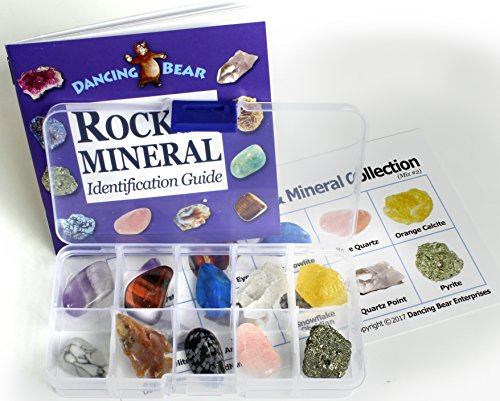 (Rock and Mineral Collection 10 piece Mix #2, in box with 27 page Rock & Mineral book and educational ID)