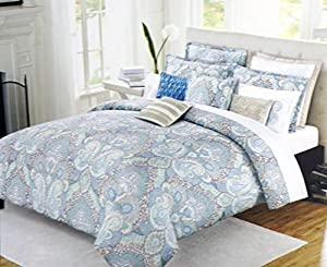 Nicole miller bedding 3 piece king duvet cover - Light blue and yellow bedding ...