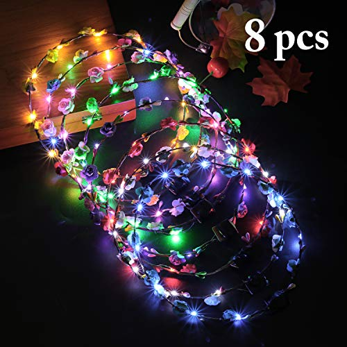LED Flower Crown,Coxeer 8PCS LED Flower Wreath Headband Luminous 10 LED Flower Headpiece Flower Headdress for Girls Women Wedding,Holiday, Gifts Dress Up Accessories,Photography,Halloween Party