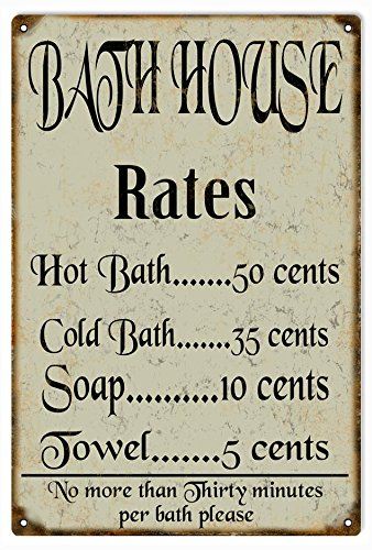 Victory Vintage Signs Bath House Rates Country Reproduction -