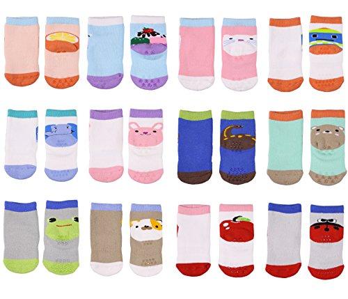LUXEHOME (YR1617) Anti-Slip Grip Soles Cartoon Baby Socks,12 Pairs per Pack (S (0-1 Years))