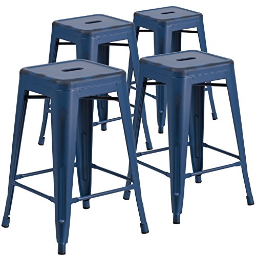 Flash Furniture 4 Pk. 24'' High Backless Distressed Antique Blue Metal Indoor-Outdoor Counter Height Stool