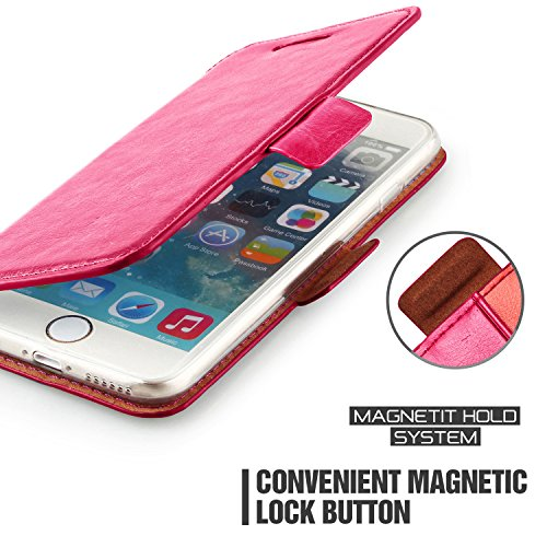 iPhone 6 Plus Case Wallet,Mulbess [Layered Dandy][Kickstand Feature][Hot Pink] - [Ultra Slim][Wallet Case] - Leather Flip Cover With Credit Card Slot for Apple iPhone 6s Plus 5.5 inch by Mulbess