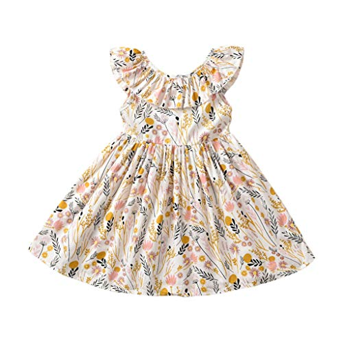 Toddler Baby Girl Sun Dress Wildflower Floral Seaside Beach Dress Overall Outfits Onepiece (110/4-5T) Yellow