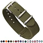 Premium Canvas Fabric Watch Bands Ballistic Nylon Straps Width,Army Green,18mm
