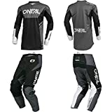 O'Neal Element Racewear Black/Gray Adult motocross MX off-road dirt bike Jersey Pants combo riding gear set (Pants W30/Jersey Small)