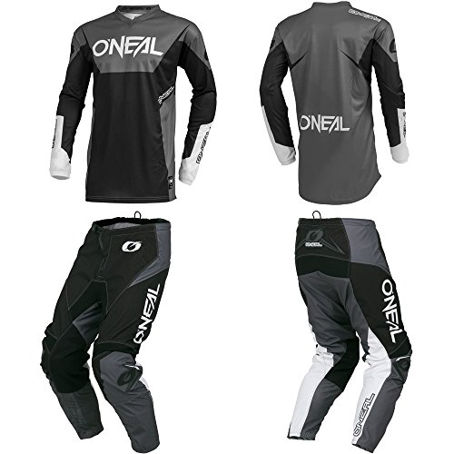 O'Neal Element Racewear Black/Gray Adult motocross MX off-road dirt bike Jersey Pants combo riding gear set (Pants W34 / Jersey Large)