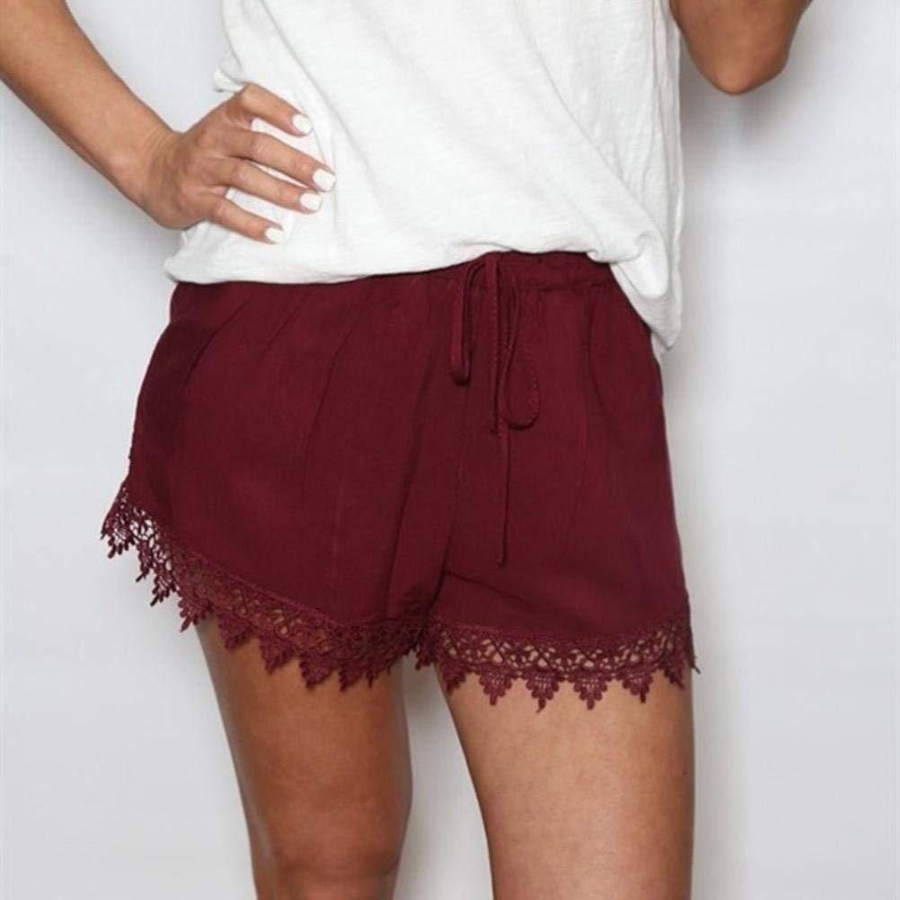 LisYOU Women Lace Beach Hot Shorts Elastic Drawstring Waist Pants XL,Red