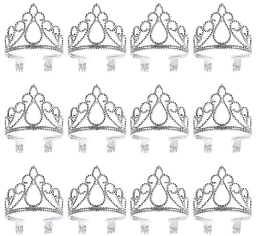 Princess Tiara - 12-Pack Dress-up Crown, Halloween Costume Accessory, Silver