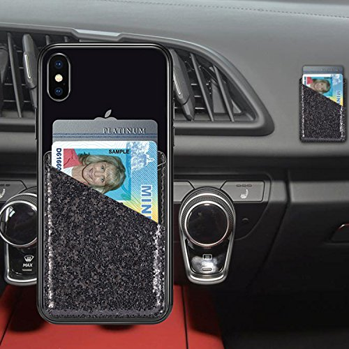Phone Card Holder Adhesive Stick-on Credit Card Pu Leather Wallet Card Holder Back Phone case Pouch Sleeve Pocket Most Smartphones iPhone/Android /Samsung Galaxy(Rose-Gold-Blue) by Aroko (Image #6)