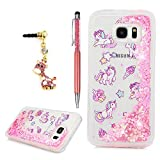 S7 Edge Case,YOKIRIN Liquid 3D Glitter TPU Quicksand Case Floating Moving Bling Stars Hearts Sparkle Colored Print Clear Shockproof Cover with Dust Plug & Pen for Samsung Galaxy S7 Edge,Unicorn