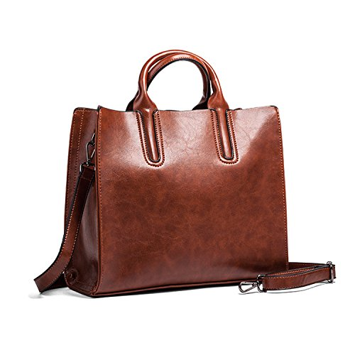 Sanxiner Top-Handle Bags Satchel Handbag Tote Bag Leather Shoulder Bag for Women (Brown) (Cheap Designer Bags)