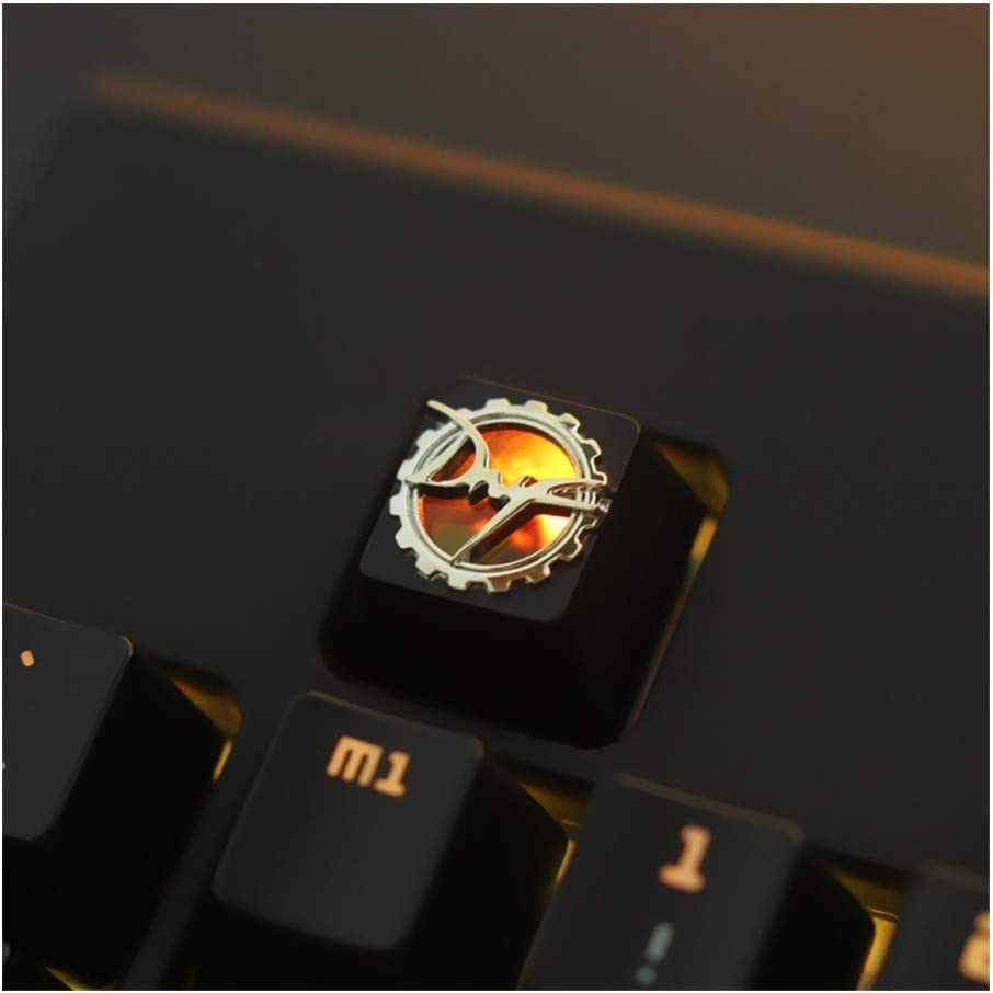 Keyboard keycaps 1pc Zinc-Plated Aluminum Alloy Backlit Key Cap for Mechanical Keyboard Stereoscopic Relief Keycap R4 Height Color : Black