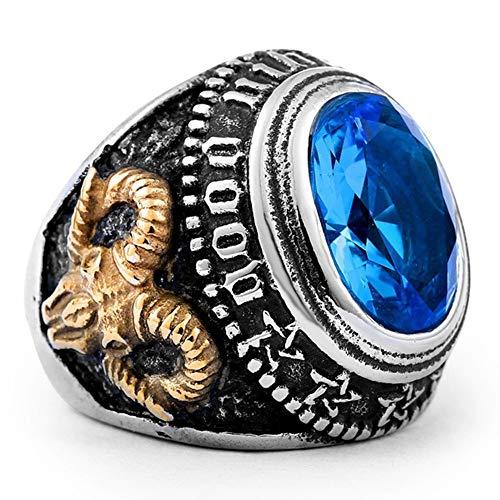 lEIsr00y Vintage Men Big Oval Cubic Zirconia Sheep Head Masonic Finger Ring Jewelry Gift - Blue US 12