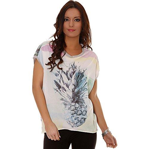 Miss Wear Line - Tshirt bleu et couleur pastel avec motif ananas avec strass