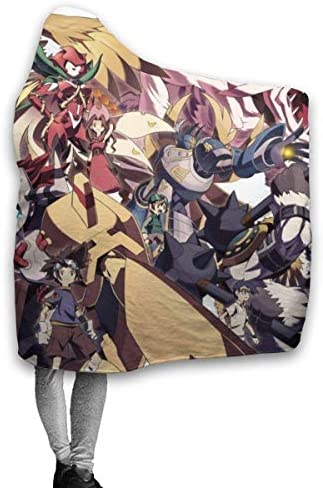 DaLaBengBa-shop Digimon Adventure Throw Couverture Couvertures à Capuche Sherpa Polaire Wearable Cuddle Warm Soft Cozy Hooded Blankets for 60 x50